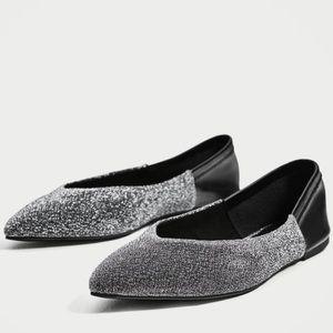 NWT Zara Silver Pointed Toe Ballerina Flats